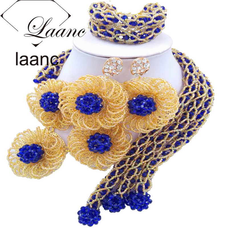 Laanc African Flower Jewelry Set for Women Crystal Beads Royal Blue and Gold Nigerian Wedding Necklace and Earrings FBFE001 chic rhinestone african plate shape pendant necklace and earrings for women