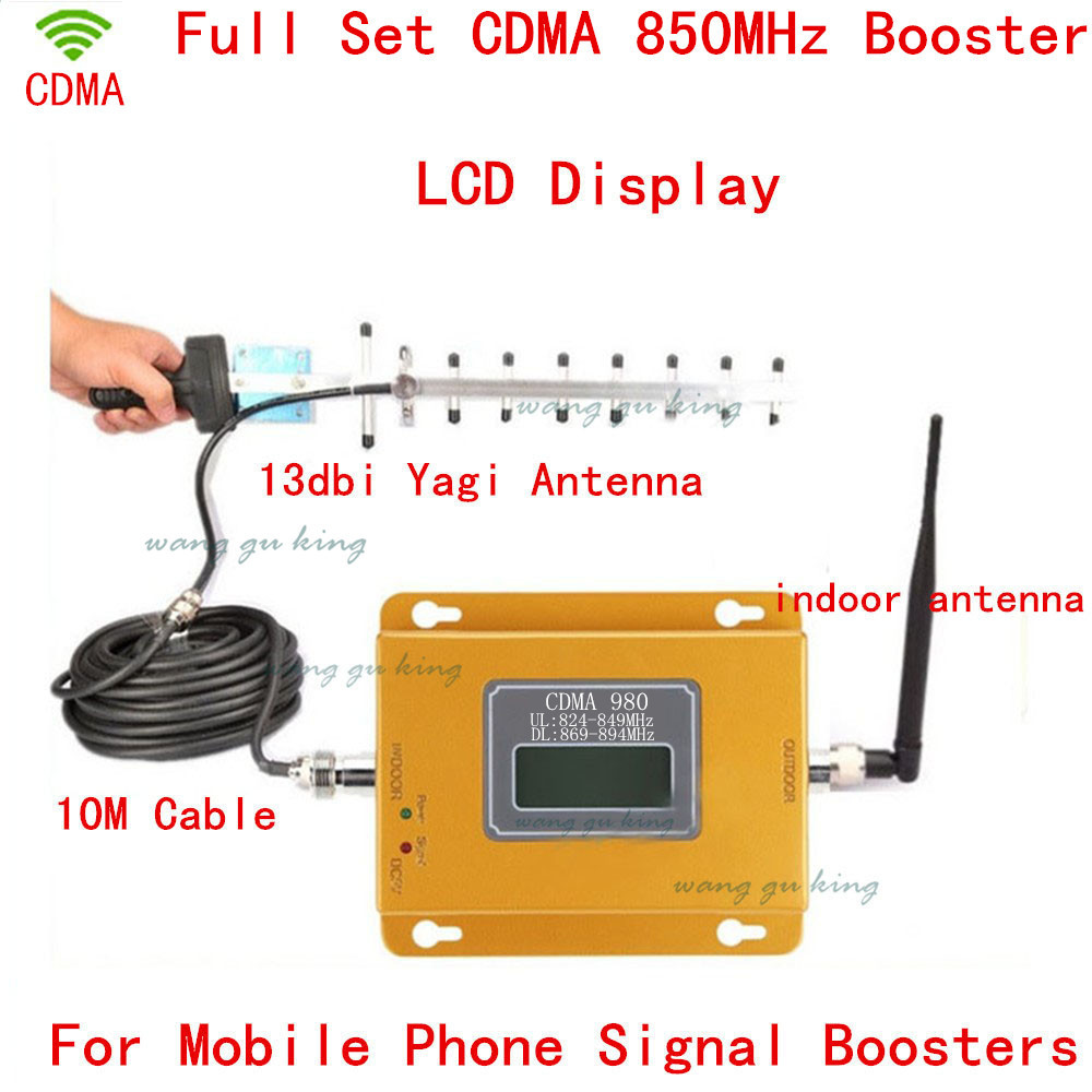 LCD Display GSM CDMA 850Mhz 70dB 850MHz Repeater Booster Cell Phone Mobile Signal Repeater Amplifier Yagi Antenna + Cable