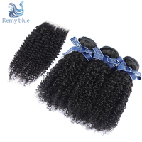 Remy Blue Raw Indian Hair 3 Bundles With Closure Afro Kinky Curly Hair Bundles With Closure Remy Weft Human Hair Weave Bundles