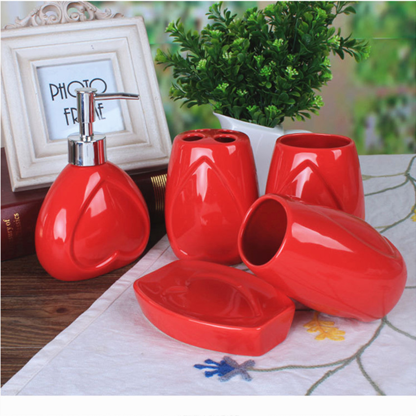 exciting red bathroom accessories sets | Free Shipping Ceramic Bathroom Accessories Set Red Heart ...