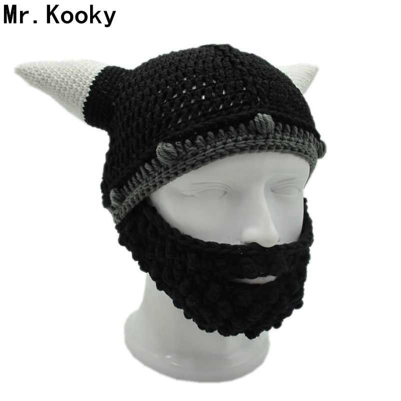 cee5bc10 Mr.Kooky Men's Vikings Helmet Hat Horn Beard Gorro Fancy Dress Handmade  Knit Winter Cap Warm Beanie Halloween Gift Vicking Party