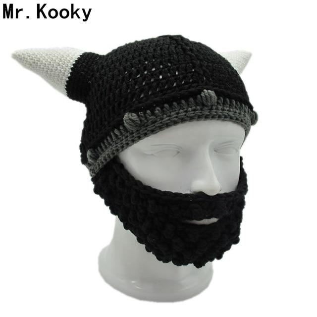 9609a7f75d2 US $11.66 49% OFF|Mr.Kooky Men's Vikings Helmet Hat Horn Beard Gorro Fancy  Dress Handmade Knit Winter Cap Warm Beanie Halloween Gift Vicking Party-in  ...