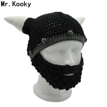 de35022bf70 Mr.Kooky Men s Vikings Helmet Hat Horn Beard Gorro Fancy Dress Handmade Knit  Winter Cap Warm Beanie Halloween Gift Vicking Party