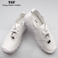 YGF Women Loafers Flats Heels Summer Autumn Lace Up Casual Shoes For Ladies Handmade Solid