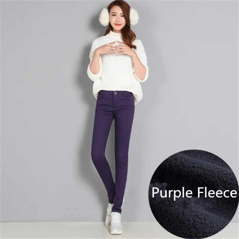 WKOUD Vrouwen Winter Warme Broek Verdikking Fleece Skinny Potlood Broek Vrouwelijke Stretch Leggings Solid Plus Size Streetpants P8572