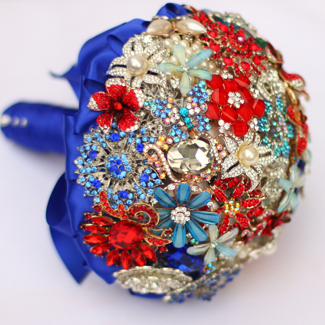 Bride Brooch Bouquet Custom Made Wedding Red & Sapphire Jewelry Bride 's Bridal Bouquets 8 Inch