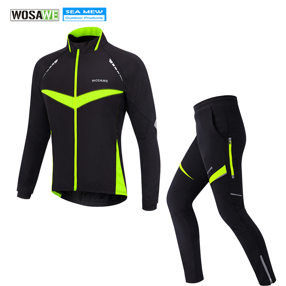 WOSAWE Winter Fleece Cycling Suits Bicycle Set Thermal Jacket Men's Bike Pants ciclismo Cycling Clothing Climbing Sportswear wosawe thermal fleece winter cycling jackets sets waterproof windproof mens bike long coat sportswear pants bicycle tights