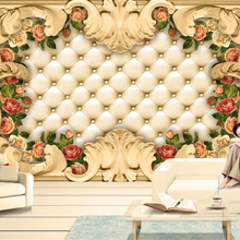 Custom Large Photo Wallpaper European border luxury soft roses background wall murals wall papers home decor tapety Beibehang