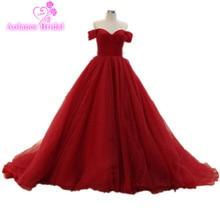 2017 Burgundy Ball Gown Prom Klänningar Off Shoulder Långa Puffy Prom Klänningar Prinsessan 100% Real Photos Prom Gown Robe De Soiree