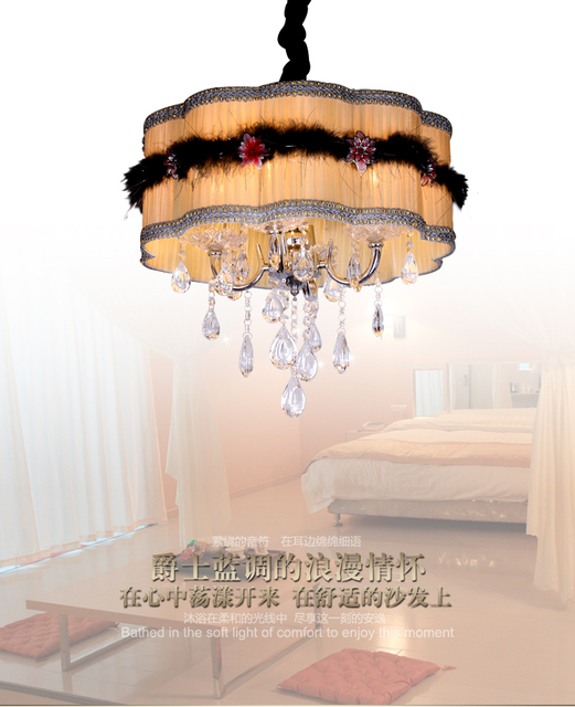 simple european romantic elegance ming yuan cloth crystal led rh aliexpress com Dining Room Chandeliers Ideas dining room led chandelier light