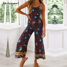 2019 New Lady Floral Printed Romper Clubwear Playsuit Women Halter Off-shoulder Summer Jumpsuit Casual Backless Cotton Romper rainbow patch contrast binding halter romper