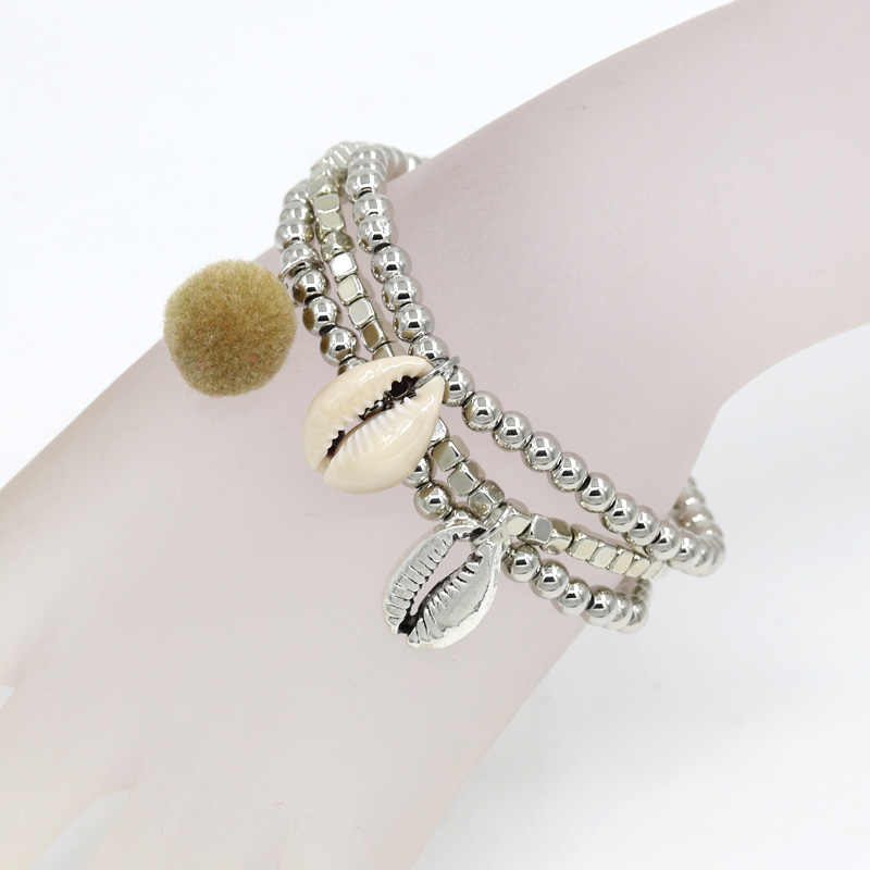 Women's Jewelry Bracelet Fashion multi-layer Bracelets with Silver Color Beads Alloy Shell Accessories for making a bracelet