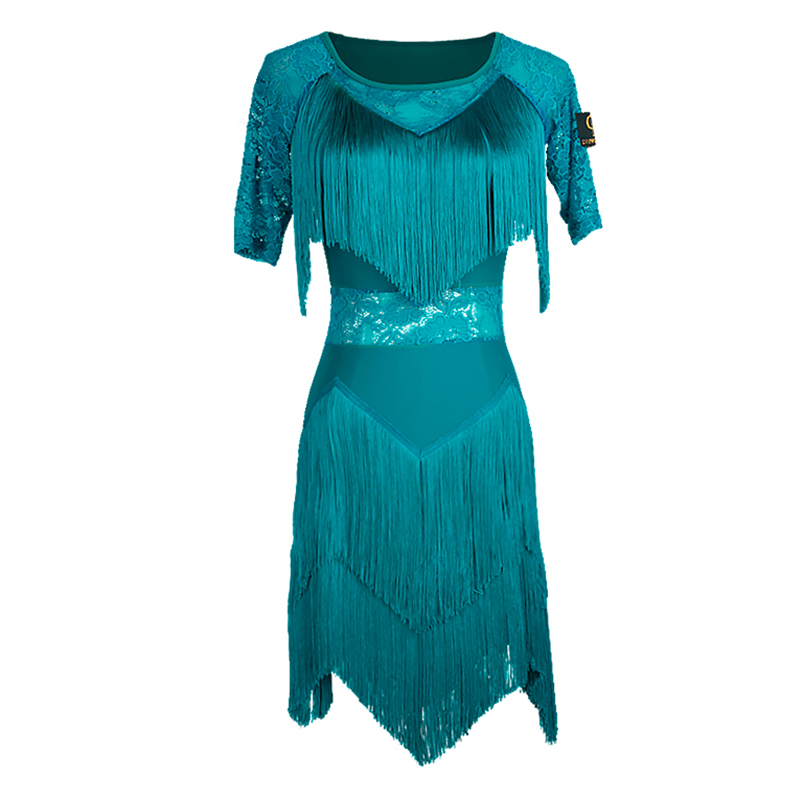 Danse latine robe compétition Performance porter dames frange robes Salsa Samba Rumba pratique danse vêtements femmes DN2467
