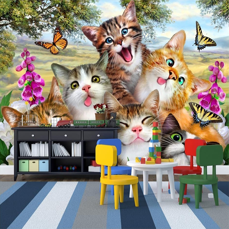 Photo Wallpaper 3D Cartoon Cute Cat Animal Wallpaper Murals Children Kids Bedroom Backdrop Wall Eco-Friendly Non-Woven Murals 3D