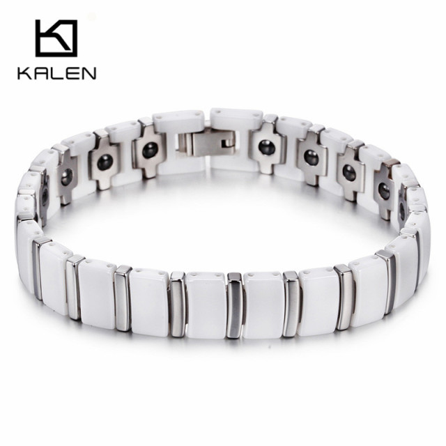Kalen Men's New High Polished Ceramics & Tungsten Steel Bracelet Health Care Hologram Energy Bracelet Fashion Link Chain Bangles