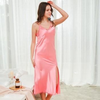 6fe7e58fd178e9c Осенние длинные ночные рубашки пижамы атласные пижамы для сна Lounge Ночная  шелковая ночная рубашка Элегантная пикантная Женская одежда для с.