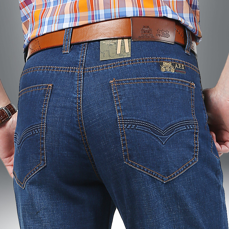 2016 AFSJEEP Middle aged men s big size 30 42 casual brand spring straight denim jeans