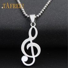 TAFREE Fashion Vintage Musical Note Pendants stainless steel Necklaces Men&Women Charm Bead Chain Necklace Jewelry SQ116(China)