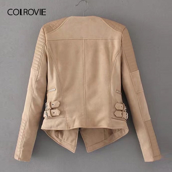 COLROVIE Khaki Zipper Pocket Biker Quilted PU Leather Jacket Coat Women 2019 Spring Fashion Ladies Jackets Female Outerwear 1