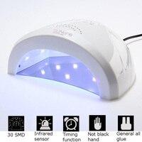 48 W LED UV Tırnak Kurutucu Lehçe Lamba Jel 30 Leds Jel Çivi Art Lehçe Lambası 5 s/30 s/60 s Düğme Lady Için Kür Manikür Nail Art HB88
