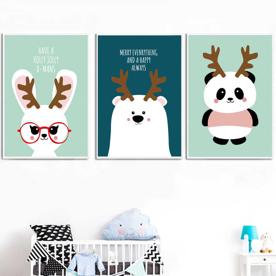 Панда Кролик Медведь рога настенные художественные плакаты и принты холст живопись Северный плакат мультфильм настенные картины Детская комната Декор