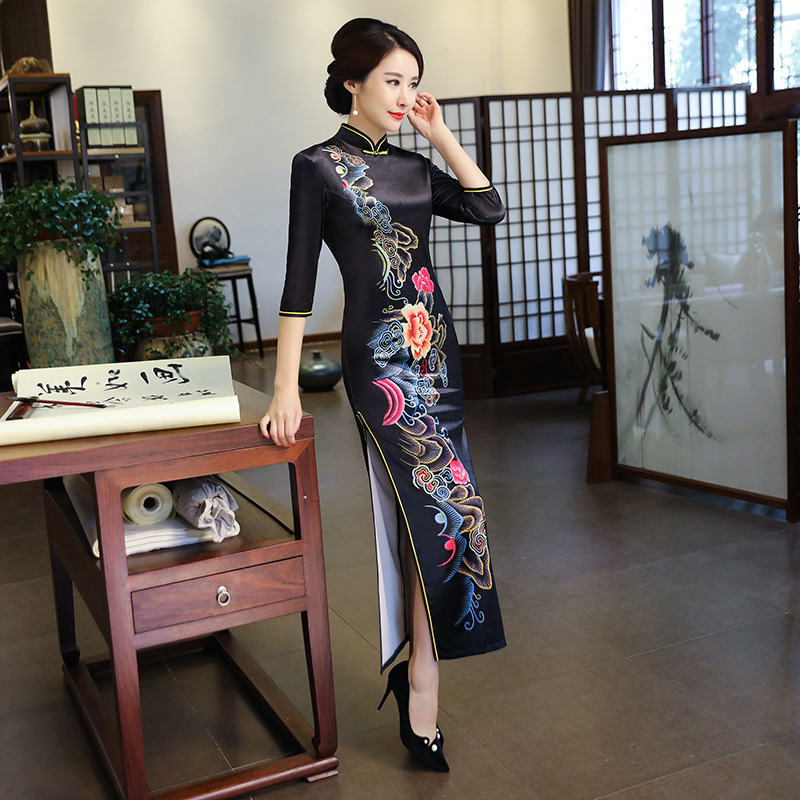 2019 Fashion Long Cheongsam Chinese style Mandarin Collar Dress Womens Spring Velour Qipao Slim Party Dresses