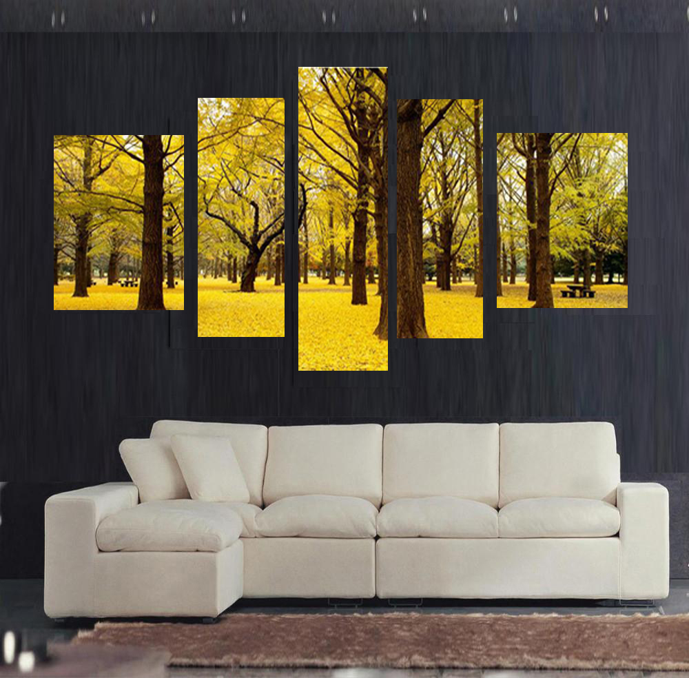 Free shipping 5pcs Autumn scenery yellow leaves Home Decor Wall Art ...