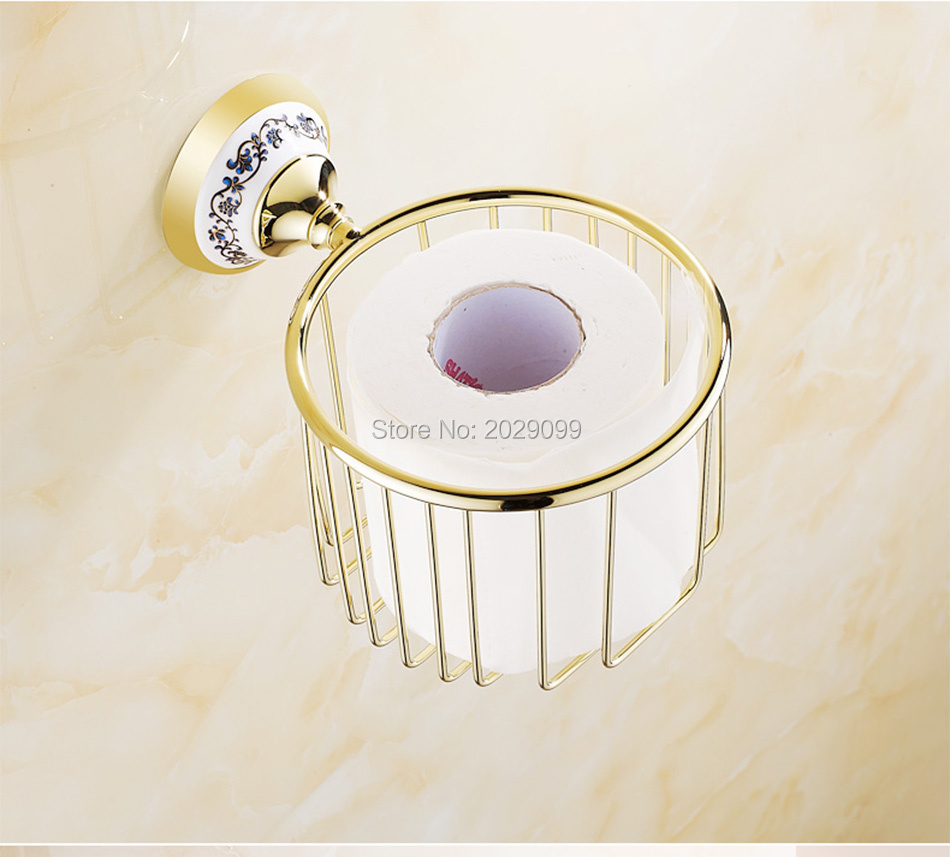 Yanjun Gold/Silver Brass Chrome Plated Bath Towel Holder Basket ...