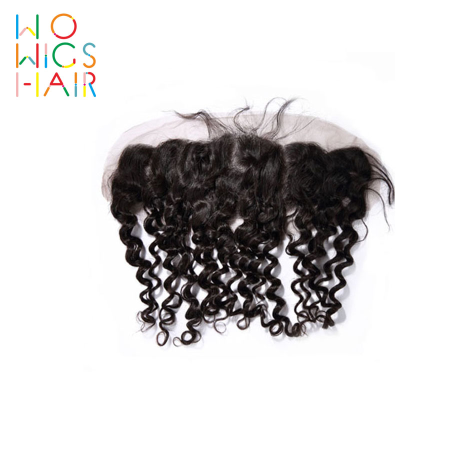 WoWigs Hair Curly Lace Frontal Remy Natural Color 100% Human Free Shipping