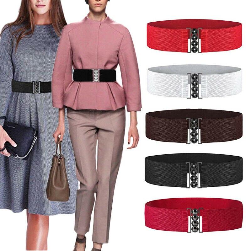 Brand New Womens Fashion Elastic Cinch   Belt   Wide Stretch Waistband Clasp Buckle Waistband