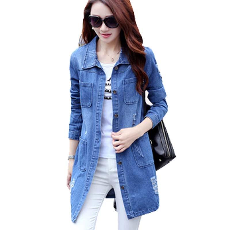 52a287c3fd5 Long Jeans Basic Jacket Women New Large Size 6XL 7XL Nice Long-Sleeved  Female Coat
