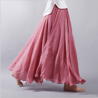 Retro Solid Color Cotton Linen Sk Skille Ankle Length Long Summer High Waist Mori Girl Big