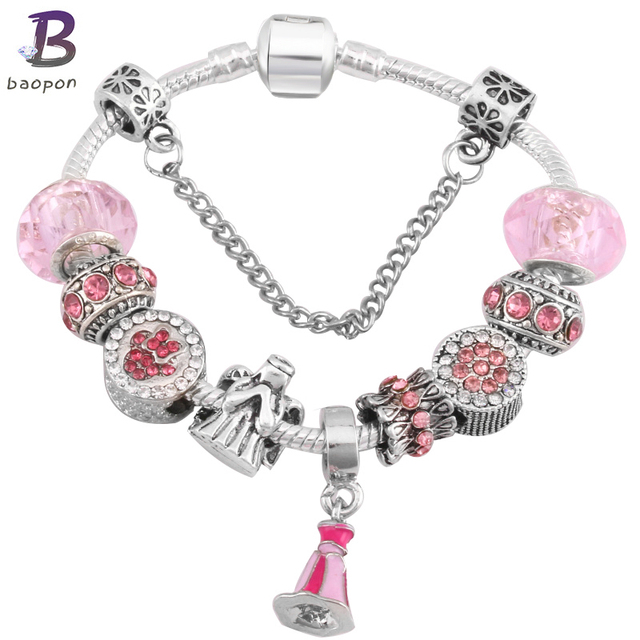 Baopon Catoon Style Antique Silver Plated Charm Bracelet For Child Murano Gl Beads Pandora Bracelets