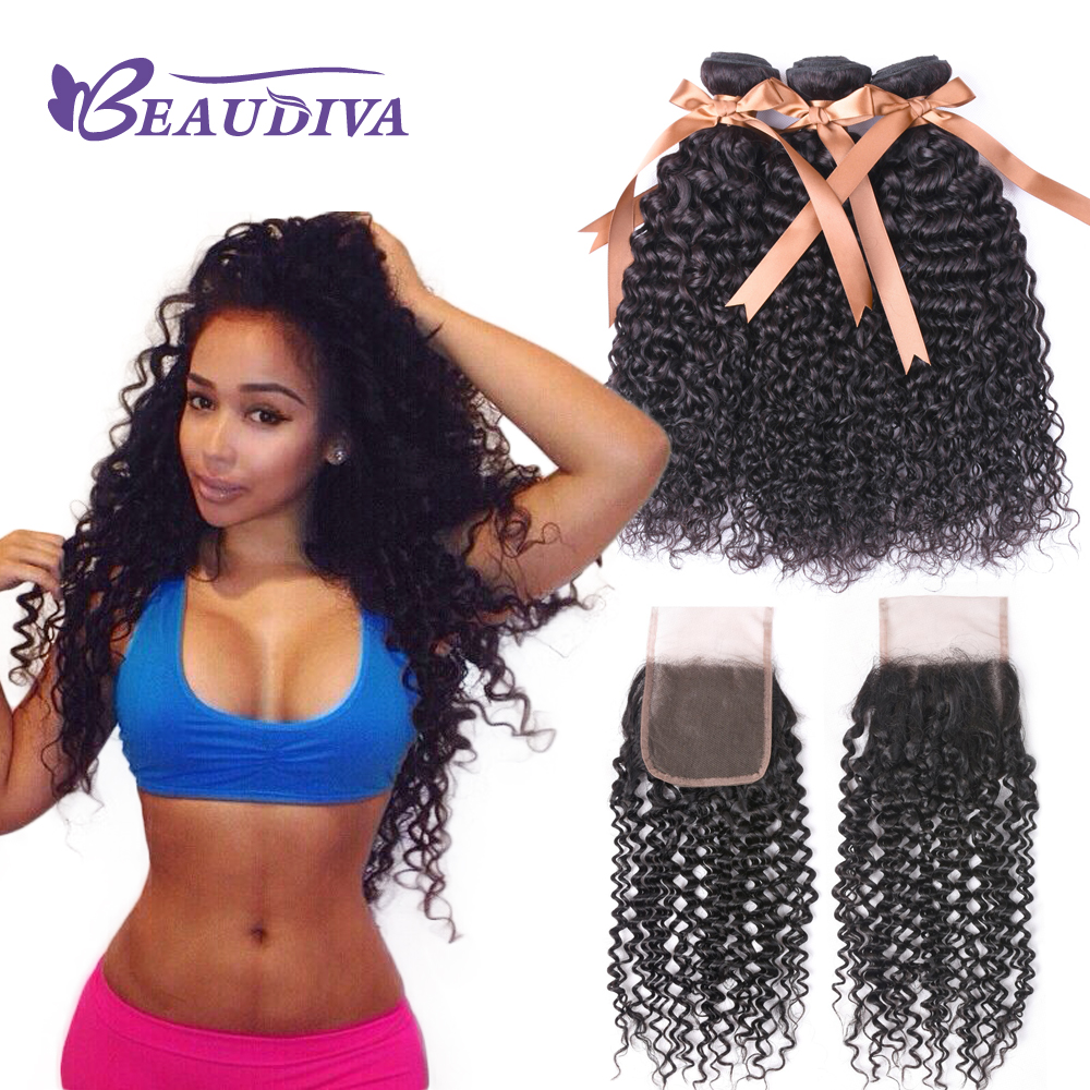 BEAUDIVA Brazilian Kinky Curly Natural Color Bundles With Closure 4*4 inch No Shedding None Remy Human Hair Weave Curly Hair