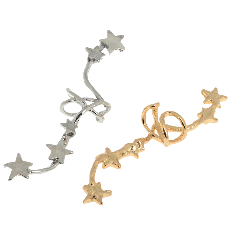 PINKSEE Hot Korean Chic Gold Silver Color Star Ear Bone Clip On Ear - Bisutería - foto 5