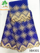 BEAUTIFICAL Royal blue bazin fabric embroidered with scarf African riche getzner for women dress wholesale quality XB43