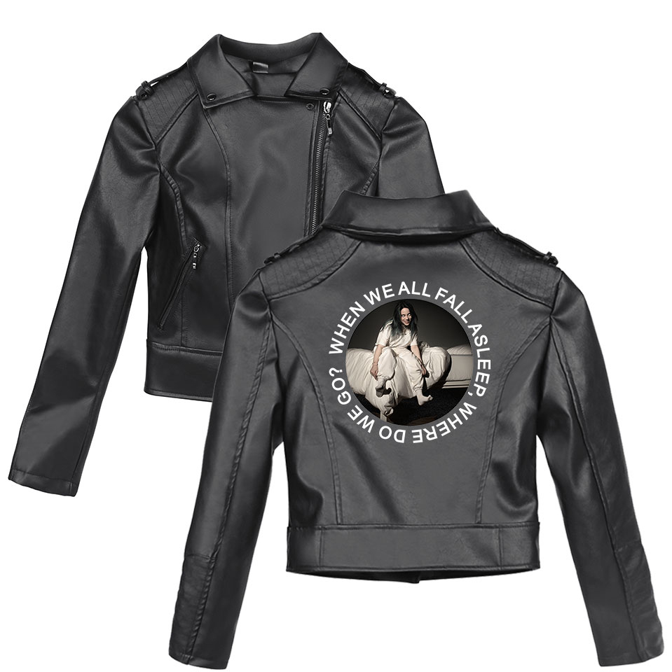 European young singer Billie Eilish Europe and the United States Slim Ms. short paragraph black   leather   motorcycle jacket