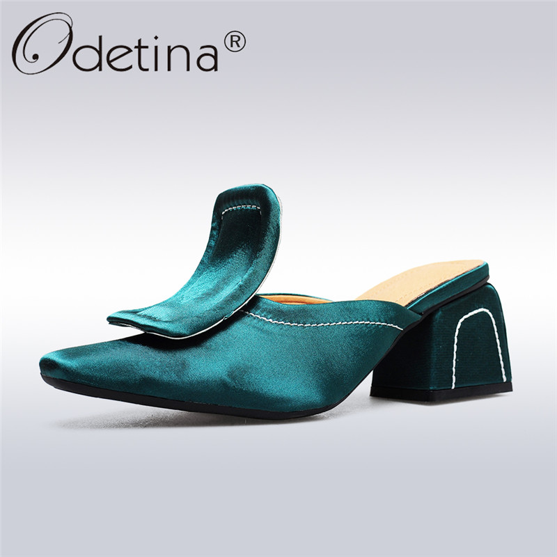 Odetina 2018 New Fashion Satin Elegant Mules Square Toe Slip On Retro Casual Shoes Square Low Heels Mule Shoes Big Size 33-42 exotic chinese retro totem embroidery shoes woman canvas flat heel mules cool fish warping slip on slipper casual slides size 41