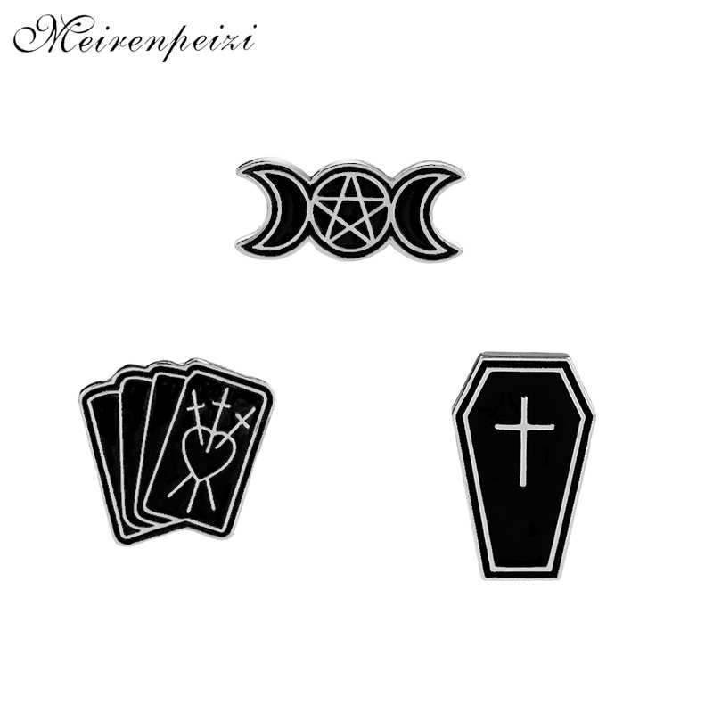 TAROT enamel pins Satan Moon Logo brooches Coffin Casket pin Witchery  devine brooch black Lapel Broches denim Badge for suit hat