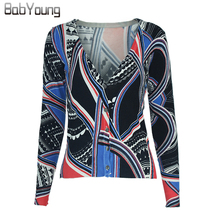 BabYoung 2017 Autumn Women Cardigans Fashion Printing Pattern Sweater Lovely Christmas Sweater Cashmere Sweater Women Pull Femme