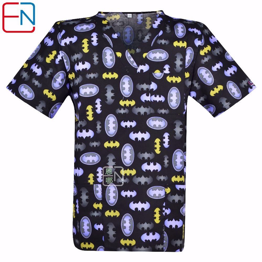 Hennar Men Medical Uniforms Nursing Designs Classic Clinical Scrub Top V Neck Short Sleeve 100% Cotton Medical Scrub Top XS 3XL