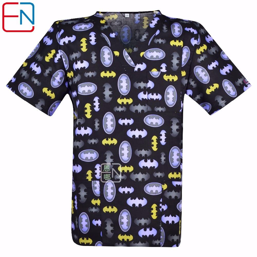Hennar Men Medical Uniforms Nursing Designs Classic Clinical Scrub Top V-Neck Short Sleeve 100% Cotton Medical Scrub Top XS-3XL
