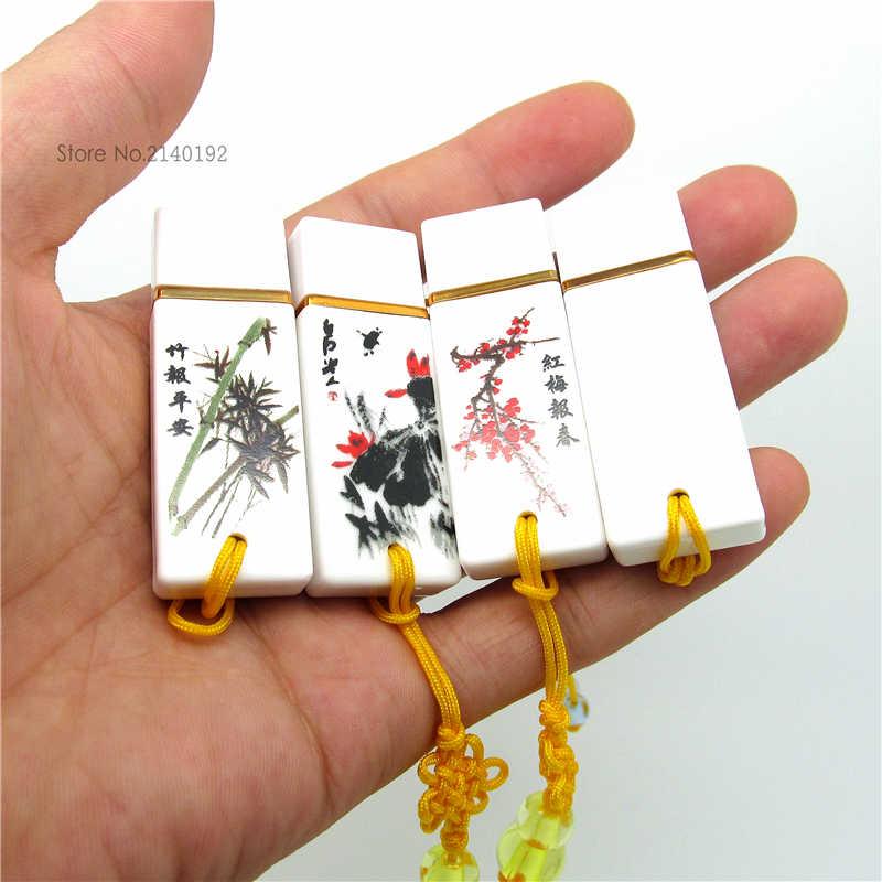 Pen drive de porcelana, chinês estilo retrô azul e branco 4g 8g 16g 32g disco flash de memória