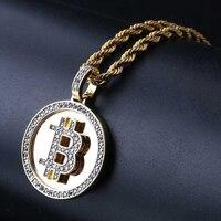 Ожерелье в стиле хип-хоп Sieraden Maken, позолоченное микро циркониевое ожерелье с кулоном биткоина для мужчин, Colgantes Joyeria