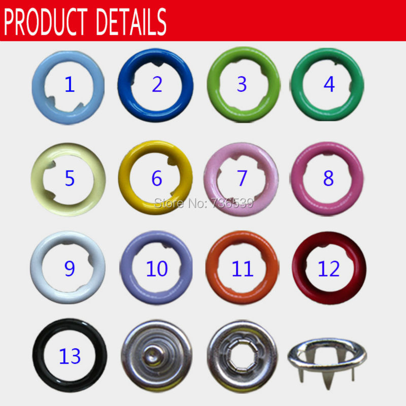 Free shipping 2000sets 9.5mm colorful hollow prong snap button five prong brass snap button for baby chothes