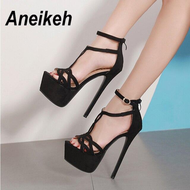 Aneikeh NEW 2019 Summer Sandals Women Platform Flock Shoes Style Sexy 16 CM High  Heels Open Toe Buckle Nightclub Shoes Black 323712a819dc