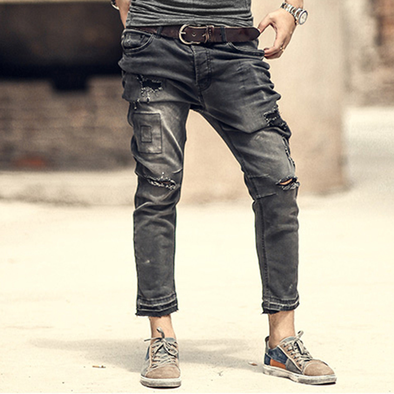 Mens retro casual ripped black jeans  4