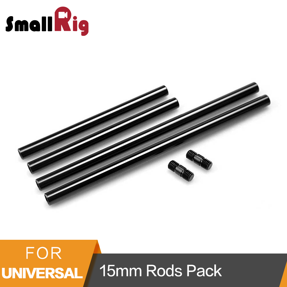 SmallRig 15mm Rods Pack with M12 Thread Rod Cap Connectors Aluminum Alloy Rods for Mattebox Follow