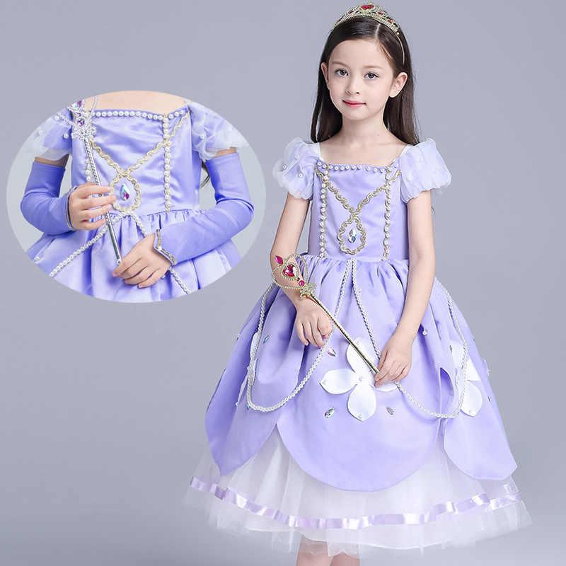 Детские платья принцессы Софии для девочек длинные вечерние платья Рапунцель одежда для детей Рождественский маскарад с костюмами для косплея От 3 до 10 лет