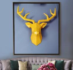 Tamanho grande 4 cores disponíveis nova geometria 3d animal cervos cabeça decoração da parede cabeça resina ornamento de parede presente natal criativo